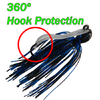 360º Hook Protection lets you put this jig in places you never dared before without getting it hung-up. Cast it with confidence without getting your trailer stuck on the HOOK...