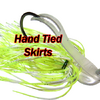 All of the skirts on the Camelback Jigs are HAND TIED for maximum efficiency and increased flaring underwater.